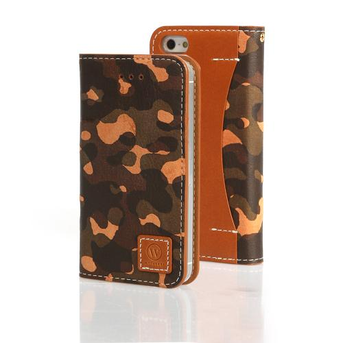 Green/ Tan Camouflage Wetherby Premium Basic Series Handcrafted Leather Case Wallet w/ ID Slots for Apple iPhone 5