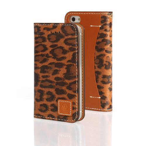 Brown Leopard Wetherby Premium Basic Series Handcrafted Leather Case Wallet w/ ID Slots for Apple iPhone 5