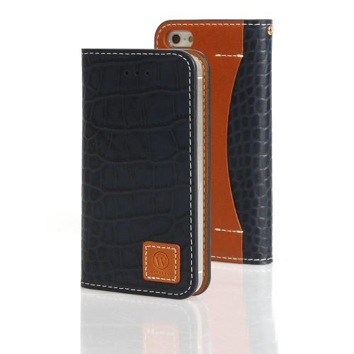 Navy Blue Wetherby Premium Croco Series Handcrafted Leather Case Wallet w/ ID Slots for Apple iPhone 5/5S