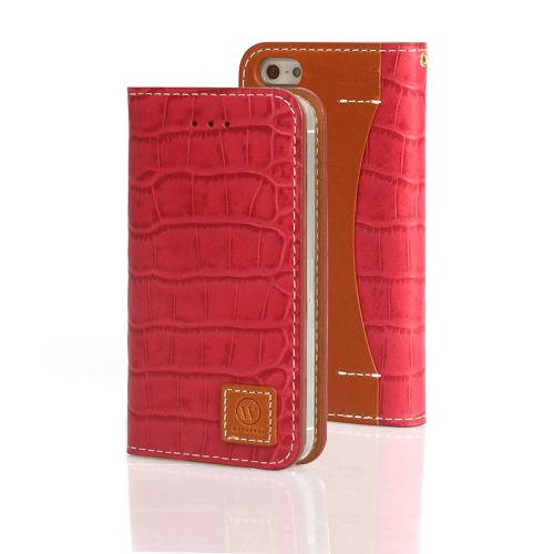 Red Wetherby Premium Croco Series Handcrafted Leather Case Wallet w/ ID Slots for Apple iPhone 5/5S
