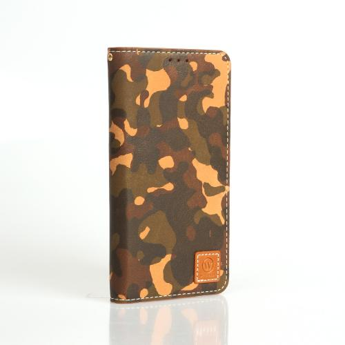 Green/ Tan Camouflage Wetherby Premium Basic Series Handcrafted Leather Case Wallet w/ ID Slots for Samsung Galaxy Note 3