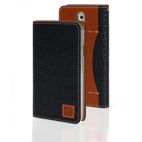 Navy Blue Wetherby Premium Croco Series Handcrafted Leather Case Wallet w/ ID Slots for Samsung Galaxy Note 3
