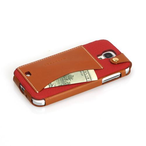 Red Wetherby Premium Bar Series Handcrafted Leather Case w/ ID Slot for Samsung Galaxy S4