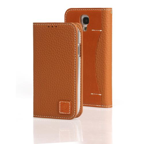 Caramel Brown Wetherby Premium Basic Series Handcrafted Leather Case Wallet w/ ID Slots for Samsung Galaxy S4