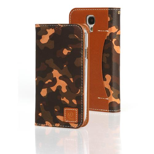 Green/ Tan Camouflage Wetherby Premium Basic Series Handcrafted Leather Case Wallet w/ ID Slots for Samsung Galaxy S4