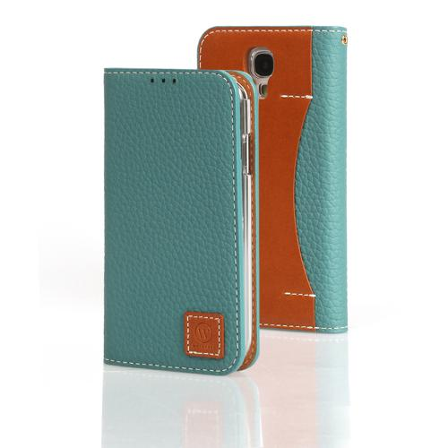 Mint Wetherby Premium Basic Series Handcrafted Leather Case Wallet w/ ID Slots for Samsung Galaxy S4