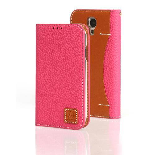 Pink Wetherby Premium Basic Series Handcrafted Leather Case Wallet w/ ID Slots for Samsung Galaxy S4