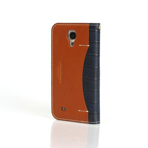 Navy Blue Wetherby Premium Croco Series Handcrafted Leather Case Wallet w/ ID Slots for Samsung Galaxy S4