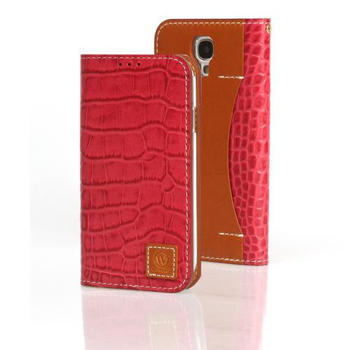 Red Wetherby Premium Croco Series Handcrafted Leather Case Wallet w/ ID Slots for Samsung Galaxy S4