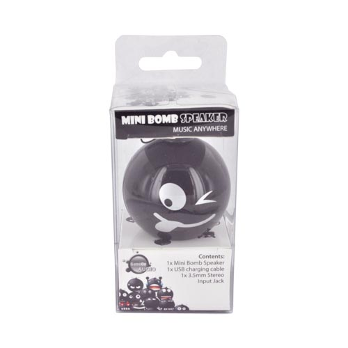 Original GameOn Audio Universal Mini Bomb Portable Speaker (3.5mm) w/ USB Cable - Smiley Bomb
