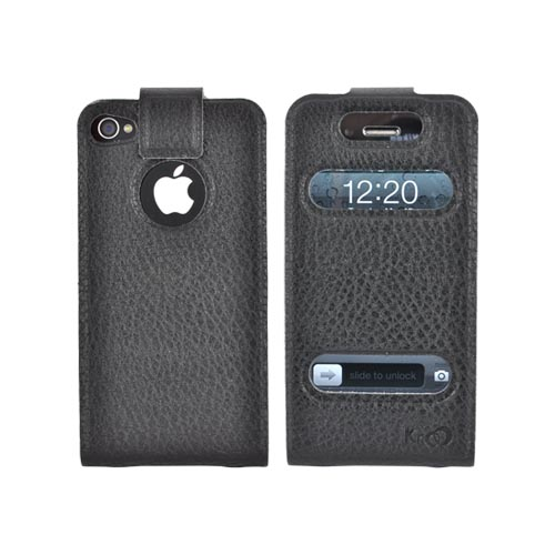 Original Kroo USA AT&T/ Verizon Apple iPhone 4,iPhone 4S DASH Leather Flip Case & Slim Adhesive Fit, MIP4DLK1 - Black
