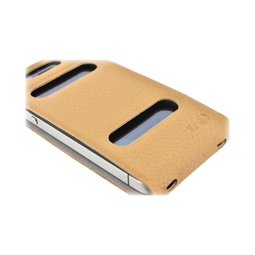 Original Kroo USA AT&T/ Verizon Apple iPhone 4,iPhone 4S DASH Leather Flip Case & Slim Adhesive Fit, MIP4DLN1 - Light Brown