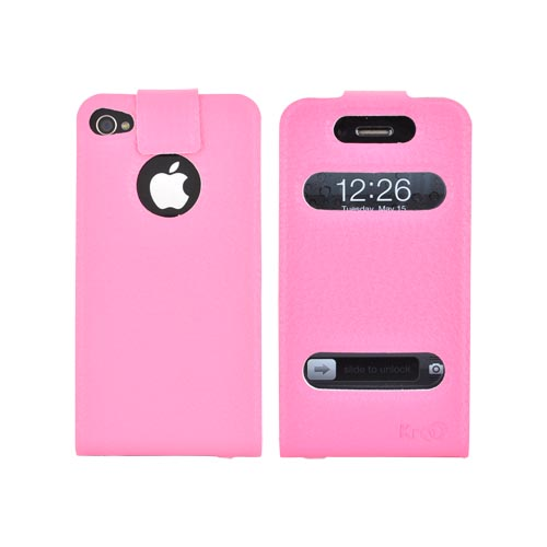 Original Kroo USA AT&T/ Verizon Apple iPhone 4,iPhone 4S DASH Leather Flip Case & Slim Adhesive Fit, MIP4DLP1 - Baby Pink