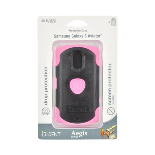 Original Trident Aegis Samsung Galaxy S Aviator Hard Cover Over Silicone Case w/ Screen Protector, AG-AVIATOR-PK - Pink/ Black