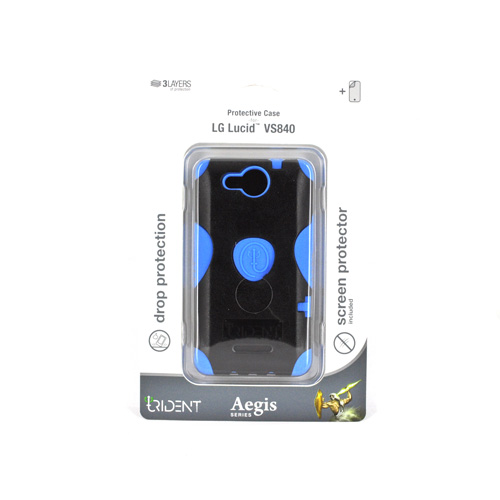 Original Trident Aegis LG Lucid 4G Hard Cover Over Silicone Case w/ Screen Protector, AG-LG-VS840-BL - Blue/ Black