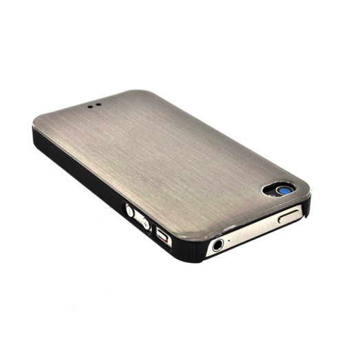 Original Luxmo Platinum Lux Jacket AT&T/ Verizon Apple iPhone 4, iPhone 4S Hard Case w/ Screen Protector - Chrome