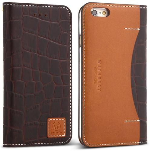 Apple iPhone 6/6S (4.7 inch) Case, DesignSkin Wetherby [PREMIUM CROCO] : 100% Handcrafted Genuine Cow Leather Folio Flip ID Credit Card Storage Holder Luxurious Wallet Case [Dark Brown]