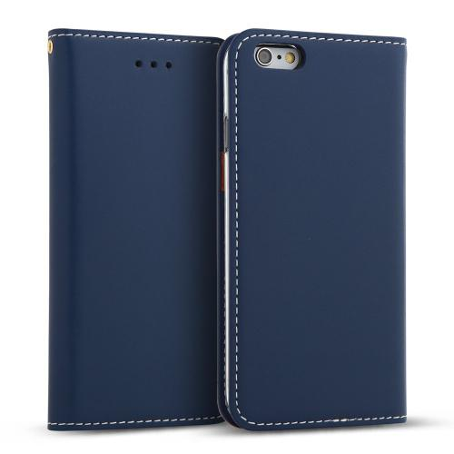 Apple iPhone 6/6S (4.7 inch) Case, DesignSkin Wetherby Classic Basic: Premium [100% HANDMADE GENUINE LEATHER] Wallet Flip Folio Unique Style Cover w/ Card Slot Cash Pockets Strap Hole [Blue]
