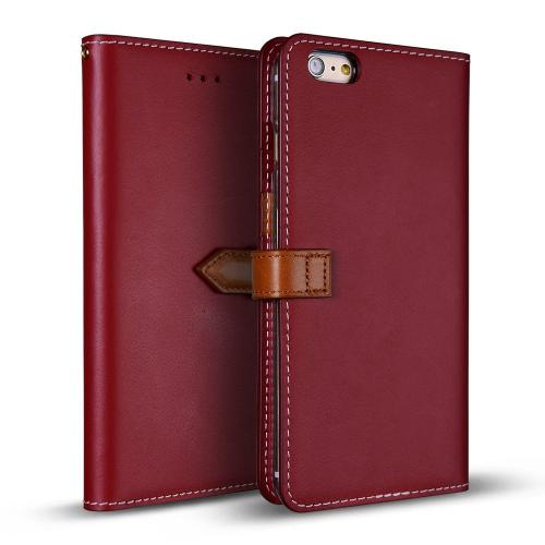 Apple iPhone 6/6S Plus (5.5 inch) Case, DesignSkin Wetherby PREMIUM BASIC SNAP - Handcrafted Genuine Leather Folio Flip Cover ID Card Slot Storage Smartphone Wallet Case [Red]