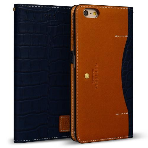 Apple iPhone 6/6S Plus (5.5 inch) Case, DesignSkin Wetherby [PREMIUM CROCO] : 100% Handmade Genuine Leather Luxury Folio Flip Wallet Smartphone Case w/ Credit Card and Paper Bill Slot Storage [Navy]