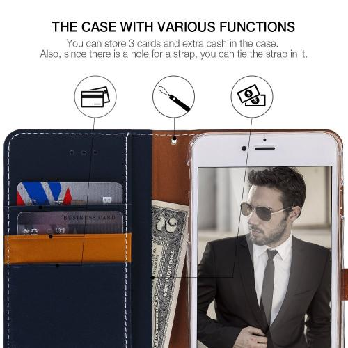Apple iPhone 6/6S Plus (5.5 inch) Case, DesignSkin Wetherby PREMIUM BASIC SNAP - Handcrafted Genuine Leather Folio Flip Cover ID Card Slot Banknote Storage Smartphone Wallet Case [Navy]