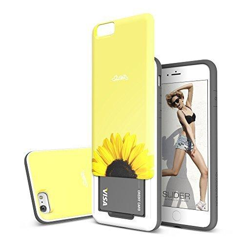 Apple iPhone 6/6S Plus (5.5 inch) Case, DesignSkin [SLIDER] : Sliding ID Credit Card Slot 3-Layer TPU+PC Unique Bumper Protection Soft and Hard Storage Smartphone Case [Sunflower]