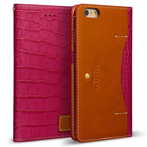 Apple iPhone 6/6S Plus (5.5 inch) Case, DesignSkin Wetherby [PREMIUM CROCO] : 100% Handmade Genuine Leather Luxury Folio Flip Wallet Smartphone Case w/ Credit Card and Paper Bill Slot Storage [Pink]