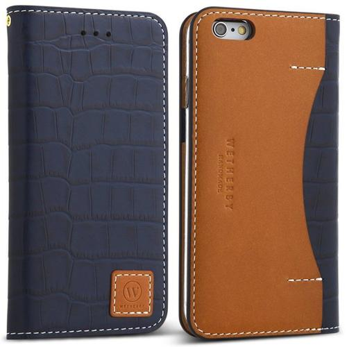 Apple iPhone 6/6S (4.7 inch) Case, DesignSkin Wetherby [PREMIUM CROCO] : 100% Handcrafted Genuine Cow Leather Folio Flip ID Credit Card Storage Holder Luxurious Wallet Case [Navy/ Brown]