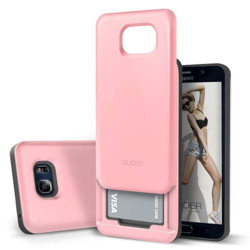 Samsung Galaxy Note 5 Case, DesignSkin [SLIDER] : [TPU + PC] Bumper Protection Case with Two Embedded Credit Card Storage Case [Baby Pink]