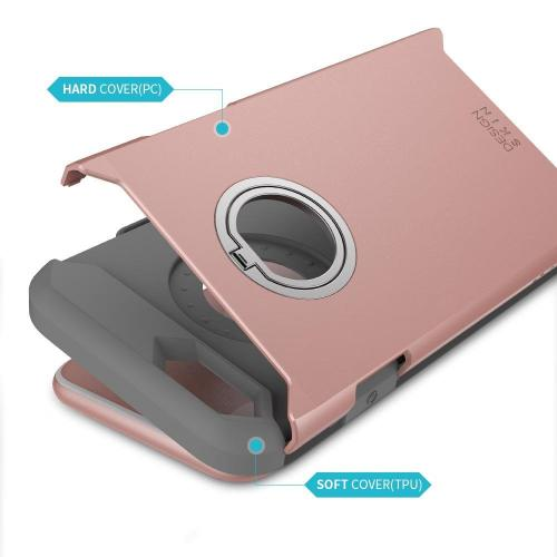 Apple iPhone 6/6S (4.7 inch) DesignSkin F1 Ring Case : 360 Rotating Kickstand Smart Ring Anti Drop Slim Fit Dual Layer TPU PC Bumper Shockproof Protection Stand Grip Armor Cover Case [Rose Gold]