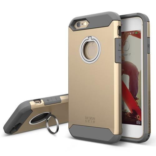 Apple iPhone 6/6S (4.7 inch) Case, DesignSkin F1 Ring Case: 360 Rotating Kickstand Smart Ring Anti Drop Dual Layer Protection Shock Absorbing Soft Grip Stand Cover [Gold]