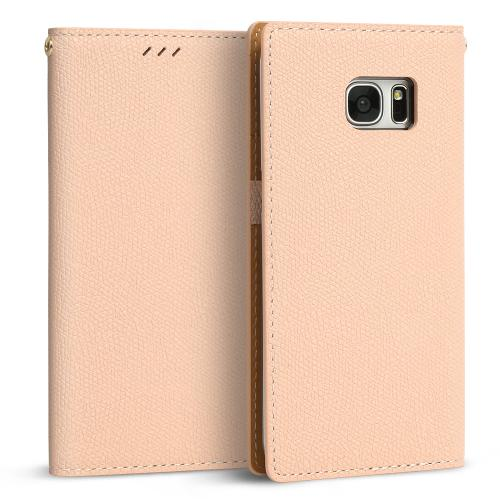 Samsung Galaxy S7 Edge Case, DesignSkin Wetherby Classic Basic: Premium [100% HANDMADE GENUINE LEATHER] Wallet Flip Folio Unique Style Cover Card Slot Cash Pockets Strap Hole [Baby Pink]