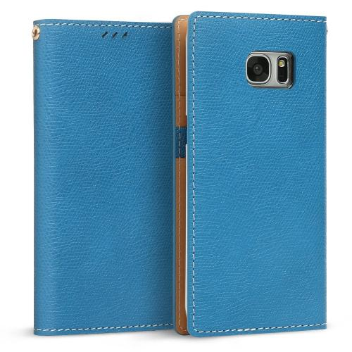 Samsung Galaxy S7 Edge Case, DesignSkin Wetherby Classic Basic: Premium [100% HANDMADE GENUINE LEATHER] Wallet Flip Folio Unique Style Cover Card Slot Cash Pockets Strap Hole [Blue]