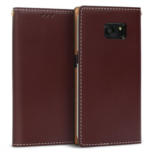 Samsung Galaxy S7 Edge Case, DesignSkin Wetherby Classic Basic: Premium [100% HANDMADE GENUINE LEATHER] Wallet Flip Folio Unique Style Cover Card Slot Cash Pockets Strap Hole [Dark Brown]