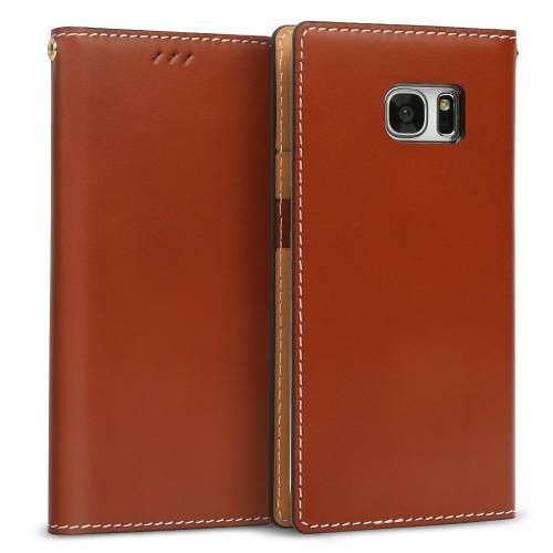 Samsung Galaxy S7 Edge Case, DesignSkin Wetherby Classic Basic: Premium [100% HANDMADE GENUINE LEATHER] Wallet Flip Folio Unique Style Cover Card Slot Cash Pockets Strap Hole [Red Brown]