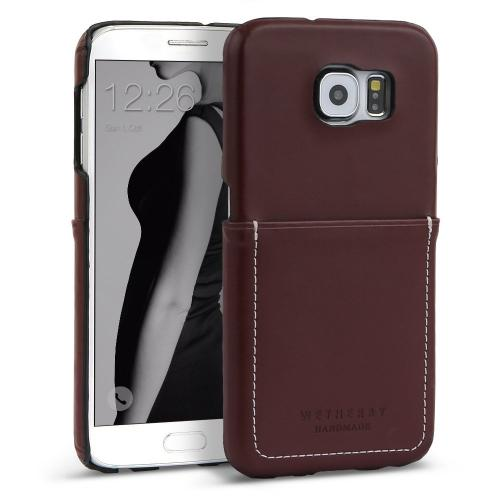 Samsung Galaxy S7 Case, DesignSkin Wetherby Pocket Bar-Type : 100% Handcrafted ID Credit Card Storage Genuine Cow Leather Simple Unique Luxurious Case [Dark Brown]