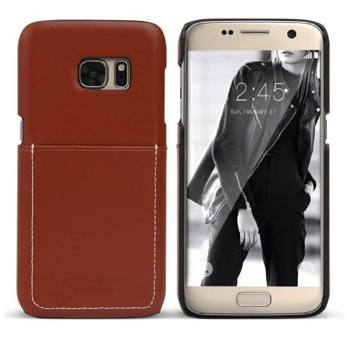 Samsung Galaxy S7 Case, DesignSkin Wetherby Pocket  Bar-Type : 100% Handcrafted ID Credit Card Storage Genuine Cow Leather Simple Unique Luxurious Case [Red Brown]