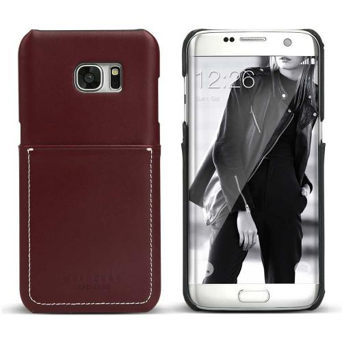 Samsung Galaxy S7 Edge Case, DesignSkin Wetherby Pocket Bar-Type : 100% Handcrafted ID Credit Card Storage Genuine Cow Leather Simple Unique Luxurious Case [Dark Brown]