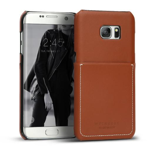 Samsung Galaxy S7 Edge Case, DesignSkin Wetherby Pocket Bar-Type : 100% Handcrafted ID Credit Card Storage Genuine Cow Leather Simple Unique Luxurious Case [Red Brown]