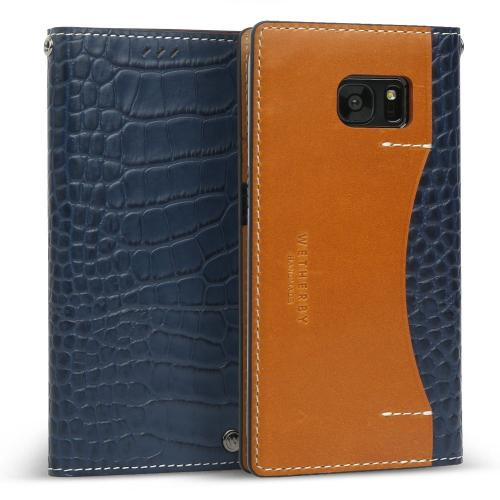 Samsung Galaxy S7 Edge Case, DesignSkin Wetherby [PREMIUM CROCO] Luxurious 100% Handcrafted Genuine Cow Leather Folio Flip ID Credit Card Storage Holder Wallet Case [Navy]