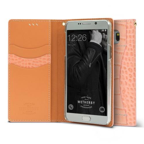 Samsung Galaxy S7 Case, DesignSkin Wetherby [PREMIUM CROCO] Luxurious 100% Handcrafted Genuine Cow Leather Folio Flip ID Credit Card Storage Holder Wallet Case [Peach]
