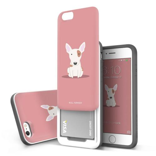 Apple iPhone 6/6S (4.7 inch) Case, DesignSkin [SLIDER] : Sliding ID Credit Card Slot (2 cards) 3-Layer PC TPU Bumper Protection Vivid Color Soft and Hard Cover Case [Bull Terrier]