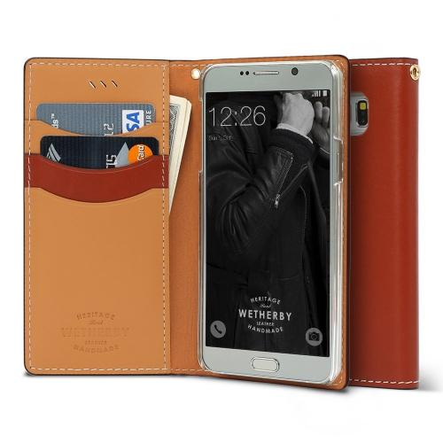 Samsung Galaxy S7 Case, DesignSkin Wetherby Classic Basic: Premium [100% HANDMADE GENUINE LEATHER] Wallet Flip Folio Unique Style Cover Card Slot Cash Pockets Strap Hole [Red Brown]