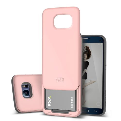 Samsung Galaxy S7 Edge Case, DesignSkin [SLIDER] 3-Layer PC TPU Bumper Protection Premium Coated Shockproof Sliding Credit ID Card (2 cards) Storage Soft and Hard Storage Case [Baby Pink]