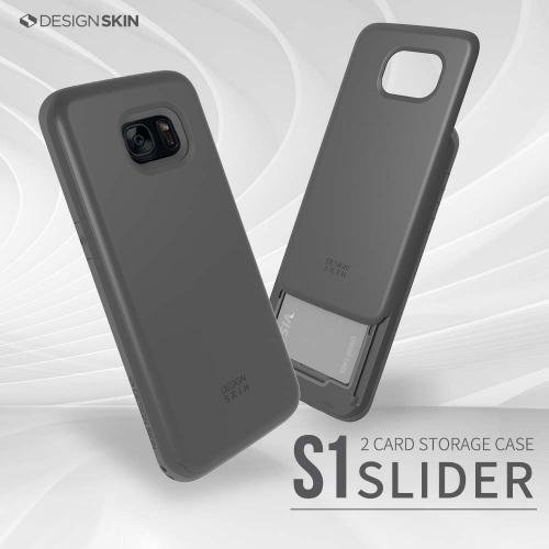 Samsung Galaxy S7 Edge Case, DesignSkin [SLIDER] 3-Layer PC TPU Bumper Protection Premium Coated Shockproof Sliding Credit ID Card (2 cards) Storage Soft and Hard Storage Case [Dark Gray]