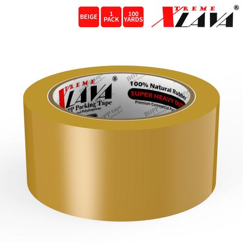Natural Rubber Tape, 1 Roll of Commercial Grade [XLava Tape - BEIGE] Value Bundle for Cold Storage Packaging Industry [2.0 Inches x 100 Yards]