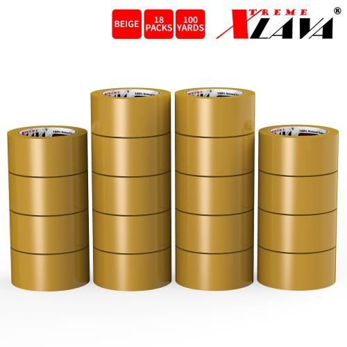 Natural Rubber Tape, 18 Rolls of Commercial Grade [XLava Tape - BEIGE] Value Bundle for Cold Storage Packaging Industry [2.0 Inches x 100 Yards]