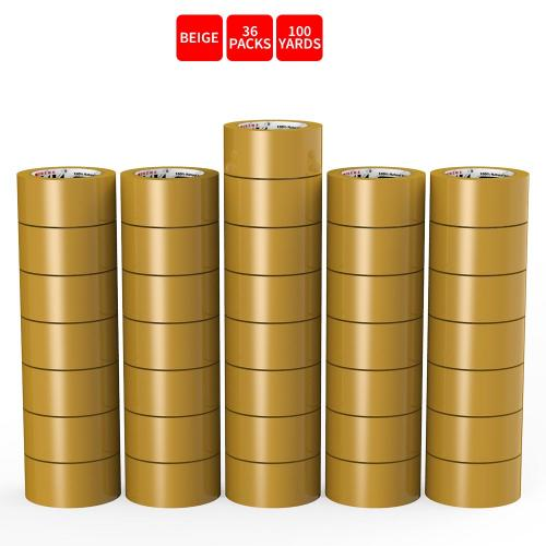 Natural Rubber Tape, 36 Rolls of Commercial Grade [XLava Tape - BEIGE] Value Bundle for Cold Storage Packaging Industry [2.0 Inches x 100 Yards]