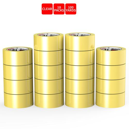 Natural Rubber Tape, 18 Rolls of Commercial Grade [XLava Tape - GOLD CLEAR] Value Bundle for Cold Storage Packaging Industry [2.0 Inches x 100 Yards]