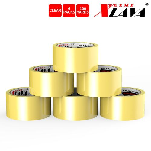 Natural Rubber Tape, 6 Rolls of Commercial Grade [XLava Tape - GOLD CLEAR] Value Bundle for Cold Storage Packaging Industry [2.0 Inches x 100 Yards]